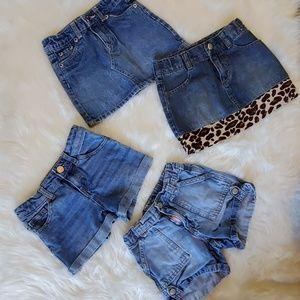 4t 5t denim shorts skirt lot Gap Gymboree Levi's